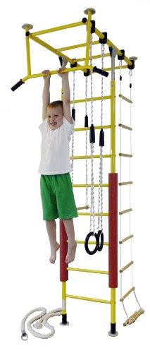 KletterDschungel - das Original - in Kindergartenqualität. Die Sprossenwand als Indoor Turngerät im Kinderzimmer (Gelb, Raumhöhe_300-350cm)
