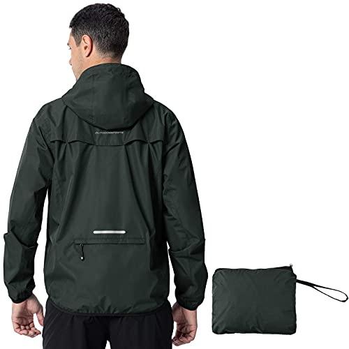 Mantimes Chaqueta impermeable para hombre, impermeable, cortavientos, capucha plegable, ligera, de secado rápido, con bolsillos con cremallera para ciclismo al aire libre, viajes (negro, XL)