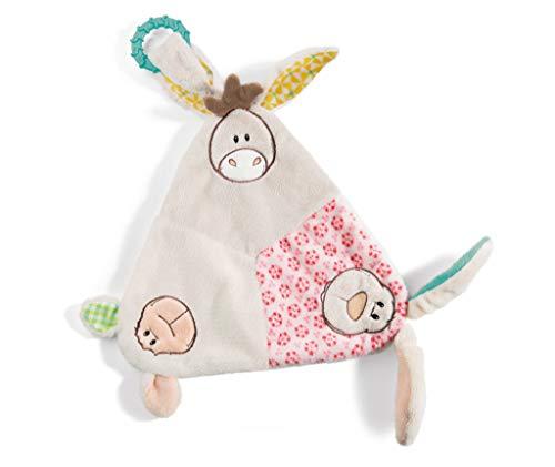 Nici 42073 My First Dreieck-Schmusetuch mit Hase, Lamm und Esel, 18 x 10 cm, beige