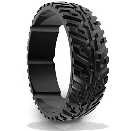 DSZ Silicone Wedding Ring for Men Sports Rubber Band for Heavy Duty - Unique Jeep Tire Tread Design with Groove for Extra Comfort (Royal Black, 11)