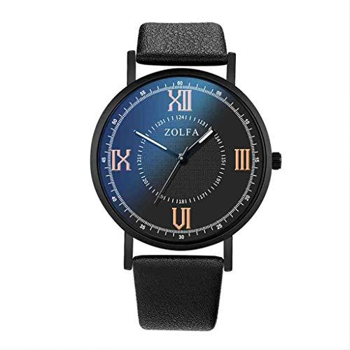 DECTN Reloj de Pulsera Reloj de Cuarzo para Hombre Moda Estilo Minimalista Escala Romana Cinturón de Cristal Azul Reloj Masculino Erkek KOL i, Negro