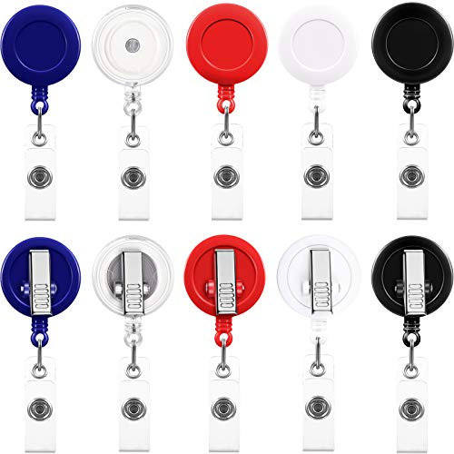 50 Pieces Retractable Badge Holder Reels with Swivel Alligator Clip, ID Card Holder Name Badge Reel Clips for Students Teachers Office Workers (Mixed Color)