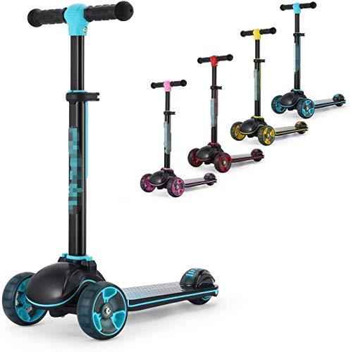 Linashop Fascol 3-Rad-Tretroller, Folding Kinder-Roller-Fahrt auf Kick-Sport, for Kinder ab 3 Jahren, LED blinkt Räder, 4 Heights Adjustable (Color : Blue)