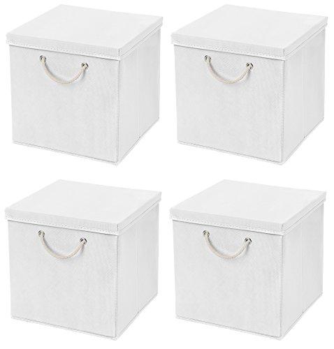 Stick&Shine 4X Aufbewahrungs Korb Weiß Faltbox 30 x 30 x 30 cm Regalkorb faltbar mit Kordel und mit Deckel