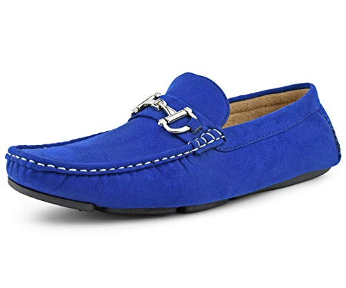 Amali Walken Men's Loafers Slip On Shoes – Casual Slippers for Men - Designer Driving Moccasins with Metal Bit and Detailed Stitching (Royal Blue/10.5)
