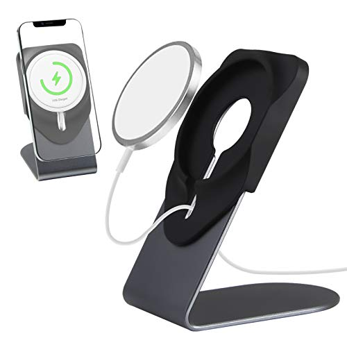 HPHOPE Ständer für Magsafe, Magnetischer Kabelloser Ladegeräthalter aus Aluminiumlegierung, Kompatibel mit MagSafe für iPhone 12 Serie, für Büro/ Heimtisch -Grau