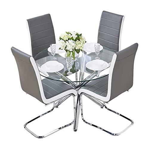 BOJU Contemporary Dining Room Chairs and Round Table Set of 4 Grey Faux Leather Kitchen Chairs Upholstered Clear Glass Tempered Dining Table (Grey: table and 4 chairs)