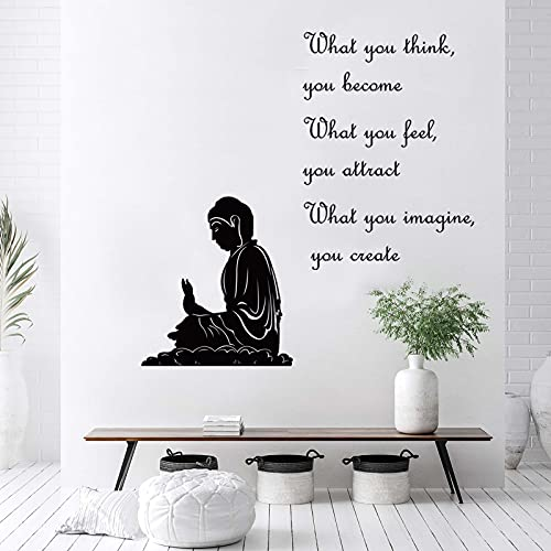 decalmile Zen Wall Decals Quotes What You Think You Become Inspirational Buddha Wall Stickers Living Room Bedroom Office Wall Decor