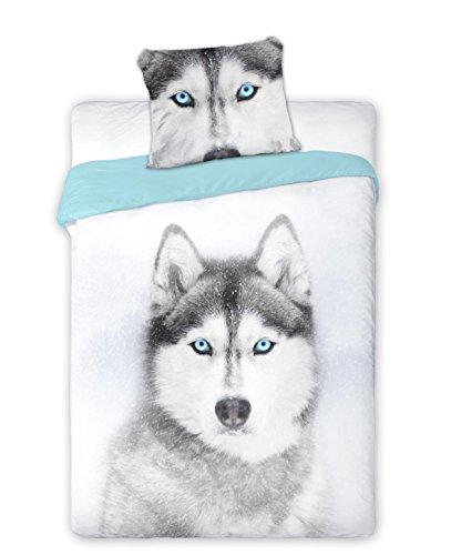 Wild Dog Husky Bed Sheet Set Single Bed Duvet Cover 160 x 200 Cotton Bedding