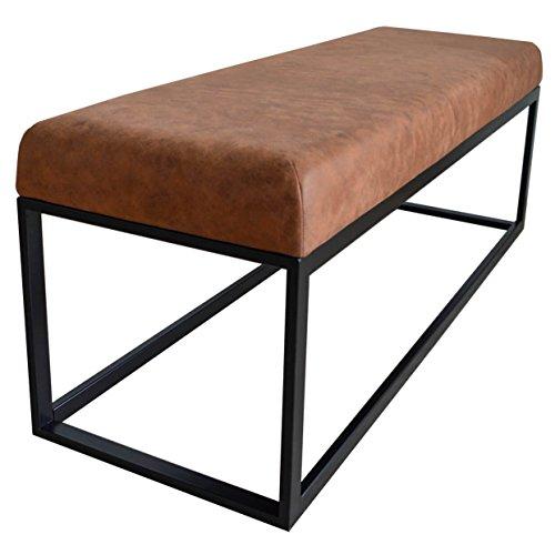Damiware Couchy Sitzhocker Sitzbank | Esszimmer, Küche, Wohnzimmer | 121 cm | Mikrofaser Leder und Metallbeine (Cognac)