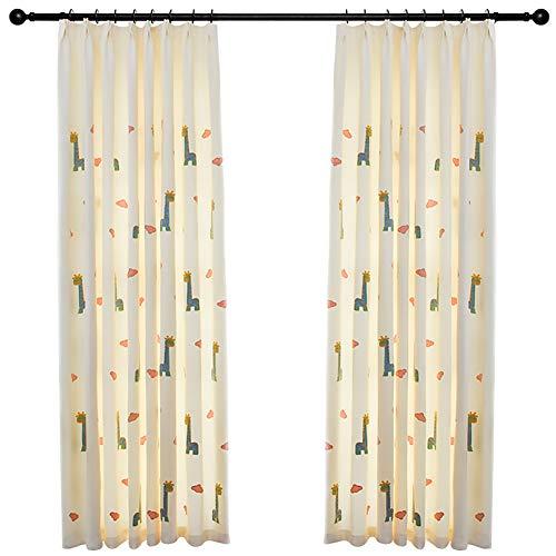 Naturer Wolken Verdunkelungsvorhang Kinderzimmer Kräuselband Thermo 160x140 Giraffe Tiere Muster Junge Mädchen Creme Gardinen Vorhänge Lichtundurchlässige 2er-Set für Baby Schlafzimmer