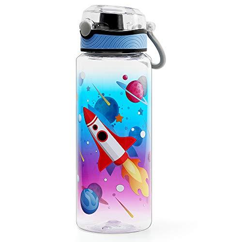 Home Tune Cute Water Bottle for School Kids Boys, BPA Free Tritan & Leak Proof Flip Top Lid & Easy Clean & Carry Handle, 23oz/ 680ml (Rocket, 23oz)