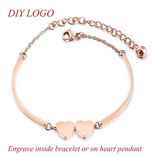 IFABIT Romantische roségouden dubbele hart roestvrijstalen armbanden voor vrouwen, gepersonaliseerde armbanden, doe-het-zelf sieraad, cadeau