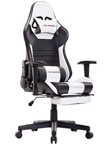 N+A Gaming Chair Racing Style Office Chair Adjustable Swivel Rocker Desk Chair Recliner Leather High Back Ergonomic Computer Chair with Footrest (White/Black)