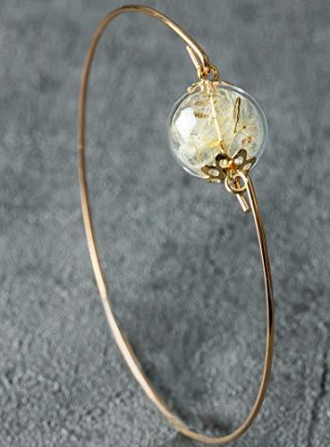 Armreif mit Echten Pusteblumen - Rosegold vergoldet - Handgefertigt - Durchmesser 6,5cm