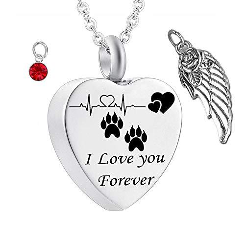 UGBJ Cremación Collar Pet Paw Memorial Ceniza Collar con alas de ángel y Collar de la urna de la cremación del Encanto de la Piedra de Nacimiento para la joyería del Gato Memorial de Ash