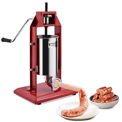 COSTWAY Poussoir à Saucisses 3L, Machine à Saucisse Vertical, Base Solide et Stable, Remplissage de Saucisse avec 4 Tubes de diamètre différent