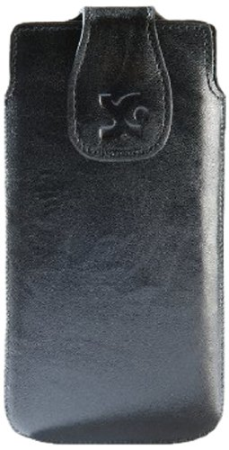Suncase Original Echt Ledertasche für das Huawei Ascend P6 in wash schwarz