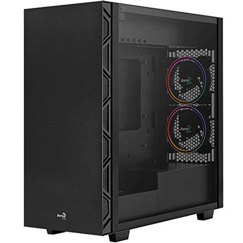 Aerocool FLOSATURNFRGB, PC-Gehäuse, 5 Lüfter, Gehärtetes Glas, Schwarz