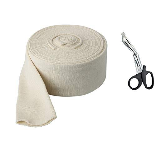 Premium Elastic Tubular Bandage Parent Size E Stockinette, 3.4 inches x 33 feet: Plus One Pair Medical Scissors