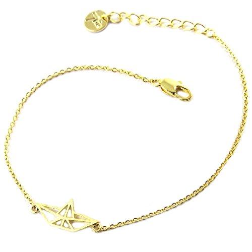 7bis Q1323 - Bracelet Hecho a Mano 'Origami' (Bote) Dorado - 16x7 mm.