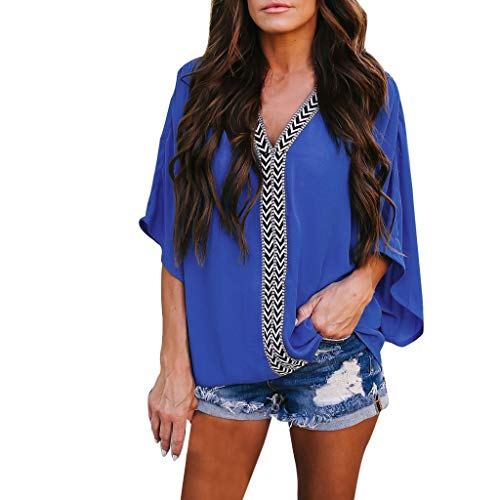Purchase NANTE Top Casual Loose V Neck 3/4 Bell Sleeve T Shirt Bat Ssleeve Down Tee Shirts Women's T...