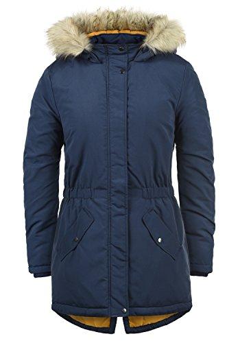 ONLY Paola Damen Jacke Parka Mantel warme Übergangsjacke gefüttert mit Kapuze, Größe:S, Farbe:Peacoat