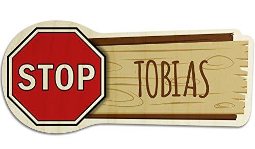 printplanet Türschild aus Holz mit Namen Tobias - Motiv Stopschild - Namensschild, Holzschild, Kinderzimmer-Schild