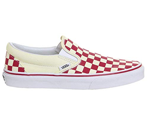 Vans - Unisex-Adult Classic Slip-ON Shoes, Size: 12 D(M) US Mens, Color: (Primary Check) Racing Red/White