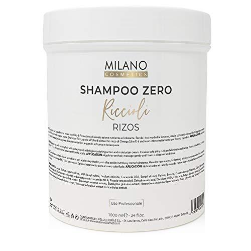 Milano Champú Zero Rizos 1000 ml El shampoo profesional sin sulfatos ni parabenos para cabello rizado u ondulado. Alta acción nutritiva sin sal y sin ceras.