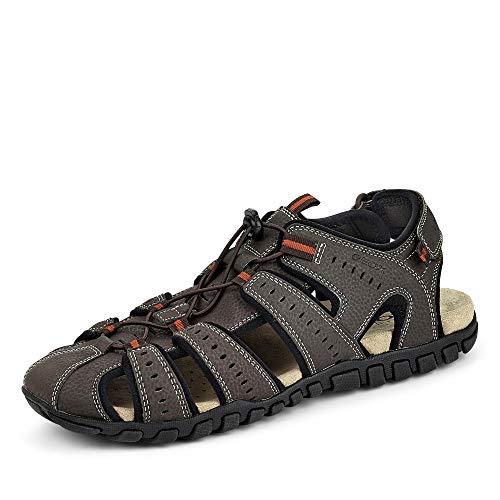 Geox Herren Sandalen U Sand.MITO, Männer Trekking Sandalen, Men Man Freizeit leger Outdoor-Sandale Sport-Sandale,DK Coffee/Black,42 EU / 8 UK