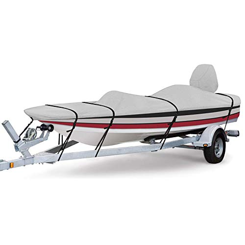 RVMasking 800D 100% Waterproof Boat Cover for V-Hull Runabouts and Bass Boats, 16-18.5 ft Long by up to 98 inches Wide