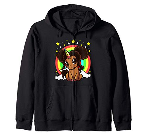 Niña Negra Unicornio Mágico Afro Puffs Piel Marrón Arco Iris Sudadera con Capucha