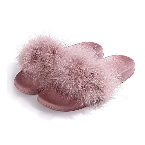 ICHDICH Damen-Schlappen mit Kunstfell I Elegante Sommer-Sandalen I Fell-Hausschuhe I Wedges Sandalen I Gummi-Slipper mit Faux Pink-38-39