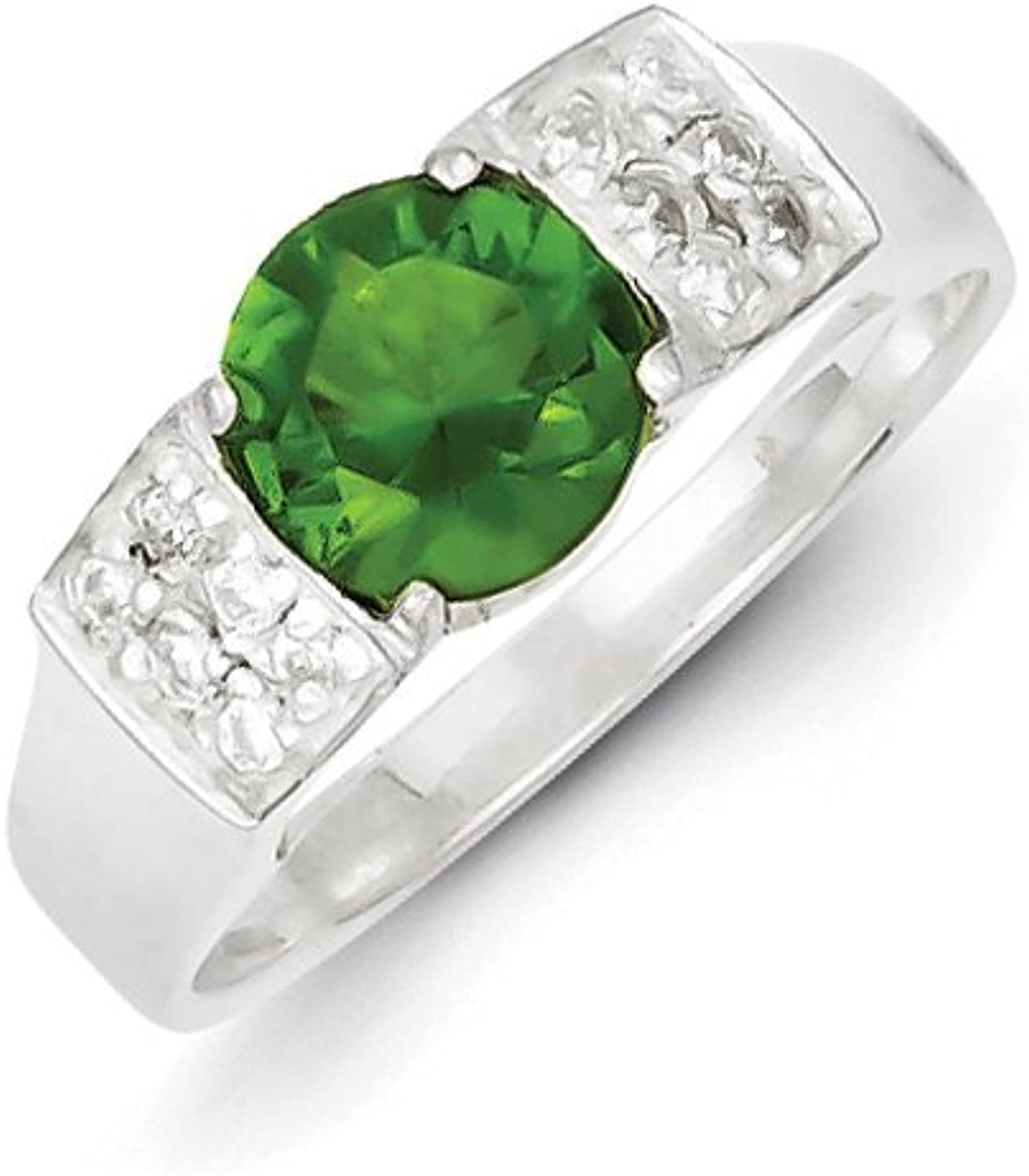 gold and Watches Sterling Silver Lime Green Round w Pave Sides CZ Ring