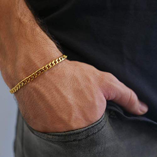 Handmade Cuff Chain Bracelet For Men Made Of Gold Plated Over Stainless Steel By Galis Jewelry - Gold Bracelet For Men - Cuff bracelet For men - Jewelry For Men - FITS 7