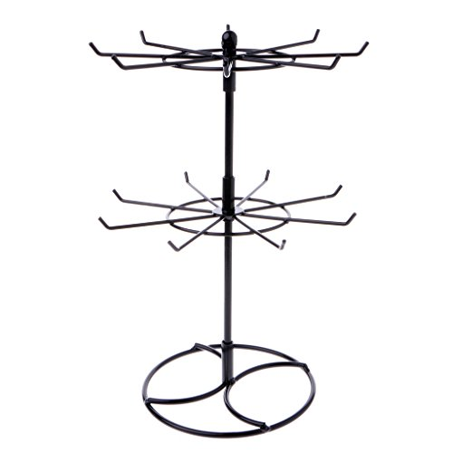 Misright Creative Rotating Metal Necklace Bracelet Chain Rotation Hanging Jewelry Display Rack Stand Holder (Black)