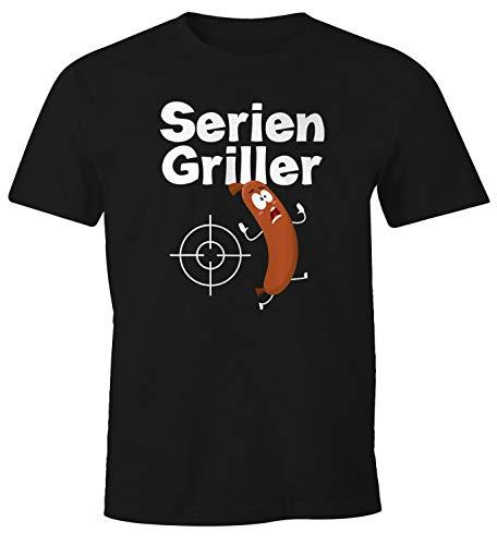 MoonWorks® Herren T-Shirt Seriengriller Wurst Bratwurst lustig Grillen Fun-Shirt schwarz L