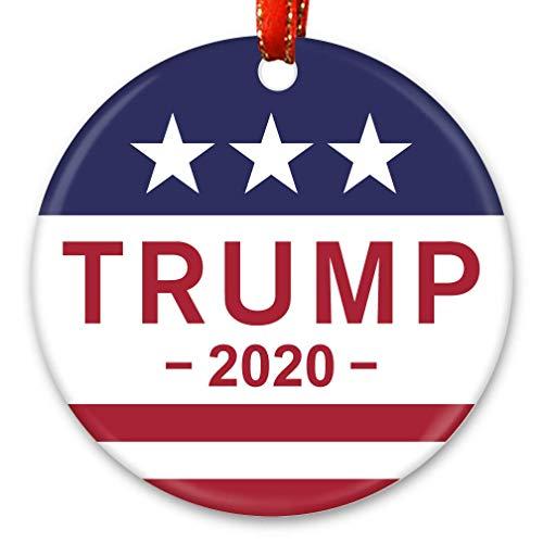 Christmas Ornament, Unfade Ceramic Tree Ornament, US Flag, President Trump, 2020 Make America Great Again, Patriotic XMAS gift with Red Ribbon & Gift Box
