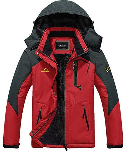 Ski Jacket Men Waterproof Jackets Fleece Jacket Snowboarding Jacket Winter Coats for Men Soft Shell Jackets Mens Parka Red US L=CN 3XL