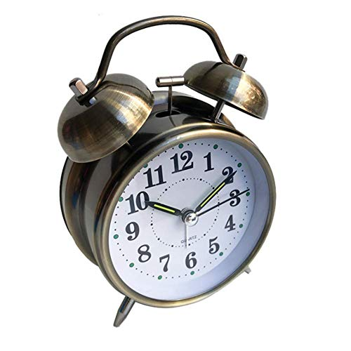 Longzhuo dubbele wekker analoge kwarts wekker met nachtlampje luid alarm geen tikken apparaat geruisloos retro analoge wekker grote wijzerplaat Romeinse cijfers, (4 inch, groen brons) M Groene brons