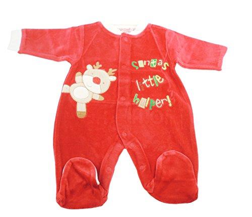 Super mignon pour bébé fille de Noël Rouge Grenouillère All in One Little Helper du Père Noël - Rouge - 6 mois