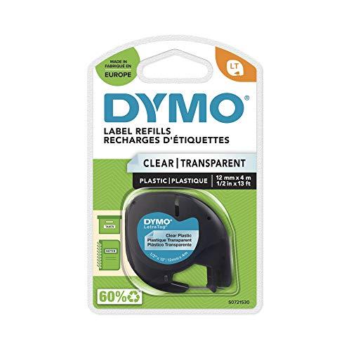 Dymo LetraTag etichette in plastica, rotolo da 12 mm x 4 m, stampa nera su trasparente, S0721530