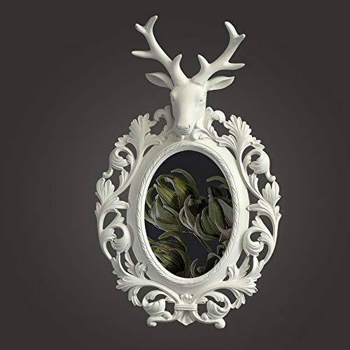 QARYYQ Espejo Decorativo de Pared de Resina con diseño de Cabeza de Ciervo nórdico, Estilo Vintage, Espejo de Pared Redondo