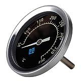 R-Weichong Thermomètre de barbecue bimétallique en acier inoxydable 50-400 °C avec couvercle de capot bimétallique analogique avec veilleuse