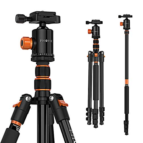 "PHOPIK 77 Inches Camera Tripod,Lightweight Aluminum Photography Tripod for DSLR, Professional Tripod with 360 Degree Ball Head 1/4"" Quick Release Plate, Load up to 17.6 Pounds"