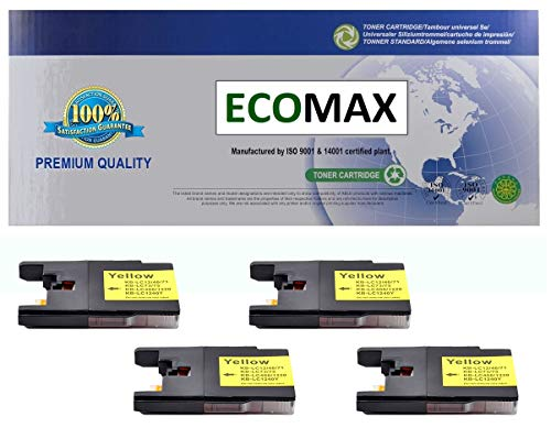 4-Pack YELLOW Compatible Ink for Brother LC75Y For MFC-J280W, MFC-J425W, MFC-J430W, MFC-J625DW, MFC-J825DW, MFC-835DW, MFC-5910DW, MFC-J6510DW, MFC-J6710DW, MFC-J6910DW