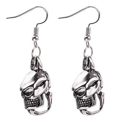Demon Skull Earrings for Men, Hip Hop Gothic Skull Head Dangle Earrings, Vintage Punk Skull Drop Earrings Hypoallergenic, Viking Skull Jewelry Unique Earrings Gift for Men Boys