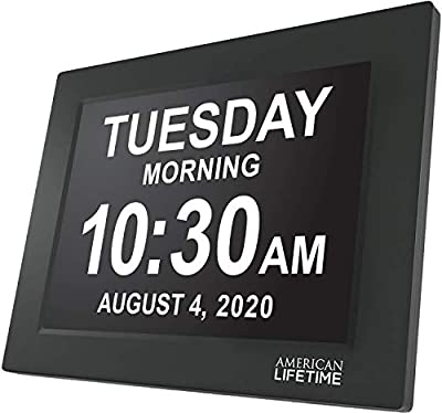 American Lifetime, Newest Version, Day Clock Extra Large Impaired Vision Digital Clock with Battery Backup and 5 Alarm Options