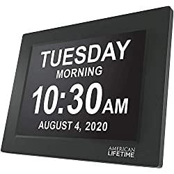 Newest Version American Lifetime, Day Clock Extra Large Impaired Vision Digital Clock with Battery Backup and 5 Alarm Options, Black